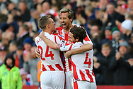 Peter Crouch of Stoke City (c) celebrates with his teammates after scoring his teams 2nd goal to make it 2-2. Premier league match, Stoke City v Leicester City at the Bet365 Stadium in Stoke on Trent, Staffs on Saturday 4th November 2017.<br /> pic by Chris Stading, Andrew Orchard sports photography.