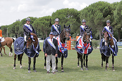 Team GBR winners of the FEI European Jumping Championship for juniors <br /> Team : Christie Pritchard, Millie Allen, Jessica Mendoza and Jake Saywell<br /> Arezzo 2014<br /> © Hippo Foto - Stefano Secchi