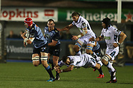 Seb Davies of Cardiff Blues breaks free from desperate Glasgow Warriors tacklers. Guinness Pro14 rugby match, Cardiff Blues v Glasgow Warriors Rugby at the Cardiff Arms Park in Cardiff, South Wales on Saturday 16th September 2017.<br /> pic by Andrew Orchard, Andrew Orchard sports photography.