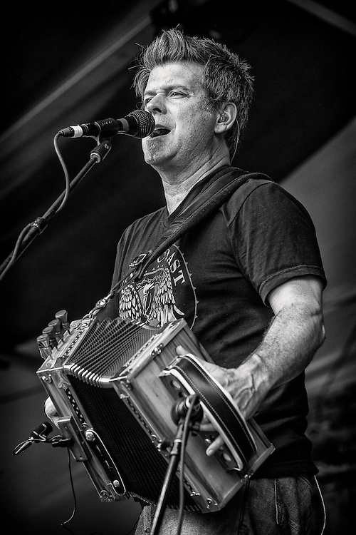Steve Riley of Steve Riley and the Mamou Playboys performs on the Fais Do-Do Stage during the 2013 New Orleans Jazz & Heritage Music Festival at Fair Grounds Race Course on April 28, 2013 in New Orleans, Louisiana. USA.
