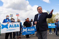 Falkirk, Scotland, UK. 30 April 2021. Leader of the pro Scottish nationalist Alba Party , Alex Salmond, campaigns with party supporters at the Falkirk Wheel ahead of Scottish elections on May 6th. Pic; Salmond addresses his supporters. Iain Masterton/Alamy Live News