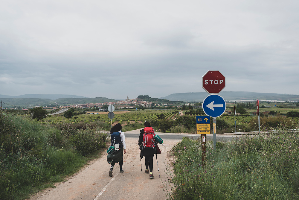 Giorgia and Aurora, from Italy, approach the town of Navarrete, La Rioja, Spain.<br /> <br /> DAY 11: LOGRONO TO NAJERA -- 29 KM