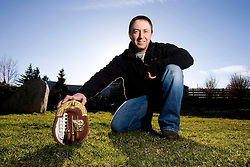 Marcus Eagleton made a sporran out of an American football from the 2008 Super Bowl XLII for the Scottish born star Lawrence Tynes, the American football placekicker for the New York Giants.  .©2007 Michael Schofield. All Rights Reserved.