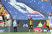 Hull City midfielder Mohammed Diame (17) celebrates his goal during the Sky Bet Championship Play-Off Final between Hull City and Sheffield Wednesday at Wembley Stadium, London, England on 28 May 2016. Photo by Phil Duncan.