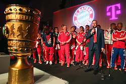 "17.05.2014, T Com, Berlin, GER, DFB Pokal, Bayern Muenchen Pokalfeier, im Bild Karl-Heinz Rummenigge, CEO of Bayern Muenchen speaks to the guests Karl-Heinz Rummenigge, // during the FC Bayern Munich ""DFB Pokal"" Championsparty at the T Com in Berlin, Germany on 2014/05/17. EXPA Pictures © 2014, PhotoCredit: EXPA/ Eibner-Pressefoto/ EIBNER<br /> <br /> *****ATTENTION - OUT of GER*****"
