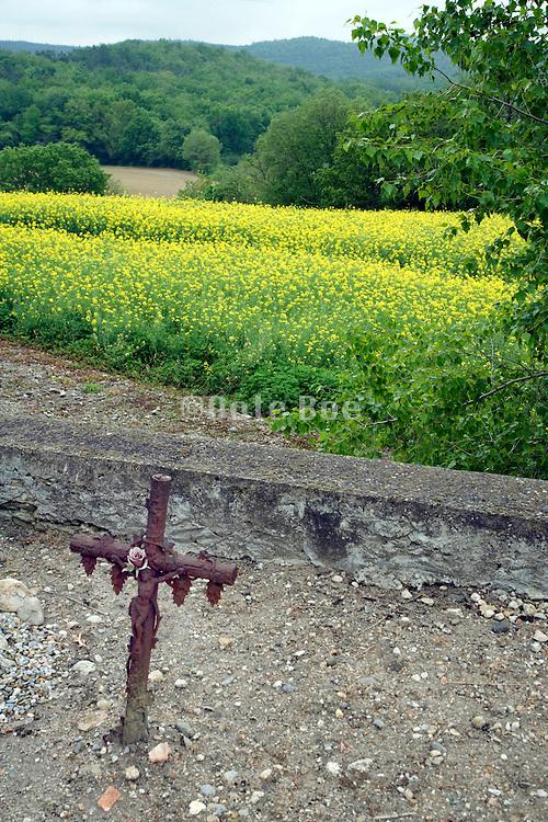 cross at a small rural graveyard