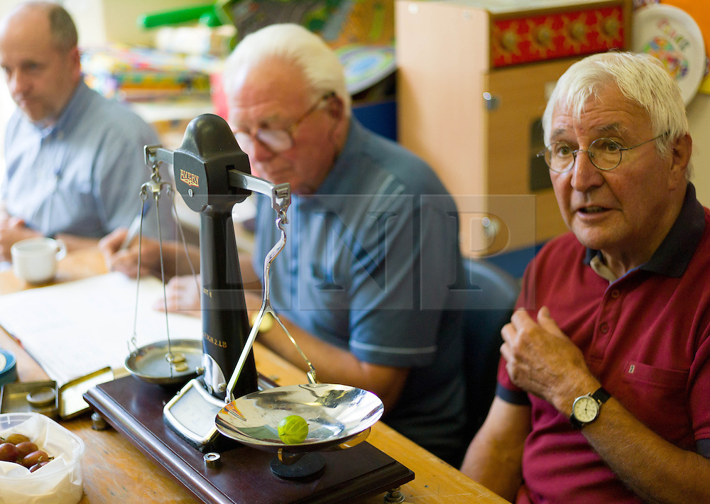 © Licensed to London News Pictures.04/08/15<br /> Egton, UK. <br /> <br /> <br /> Weigh man HARRY HEBDON chats with an entrant about his gooseberries during judging at the annual Egton Gooseberry Show. <br /> There are only two Gooseberry societies left in the country. One in Cheshire and one at Egton in North Yorkshire. The annual show in Egton uses traditional Avoridupois scales to measure the weight of the berries and members of the society are fanatical about trying to grow the best berries each year. <br /> <br /> Photo credit : Ian Forsyth/LNP