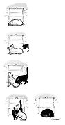 (A cat persuades a dog to give up its place by the fire)