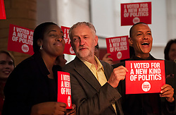 © Licensed to London News Pictures. FILE PICTURE 10/09/2015. London, UK. KATE OSAMOR, JEREMY CORBYN and CLIVE LEWIS at a Labour Party leadership rally in Islington, north London, shortly before Jeremy Corbyn was elected leader of the party.  Kate Osamor has resigned as Shadow Secretary of State for International Development weeks after she was reported to Parliament's standards watchdog. Her son Ishmael Osamor admitted in October to having £2,500-worth of drugs at Bestival in Dorset last year..  Photo credit: Ben Cawthra/LNP