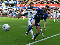 Football - 2019 / 2020 Sky Bet (EFL) Championship - Swansea City vs. Reading<br /> <br /> Gavin Whyte of Cardiff City & Wayne Routledge of Swansea City, at the Liberty Stadium.<br /> <br /> COLORSPORT/WINSTON BYNORTH