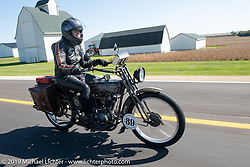 Cris Sommer Simmons riding Effie, her 1915 Harley-Davidson model J in the Motorcycle Cannonball coast to coast vintage run. Stage 6 (260 miles) from Bourbonnais, IL to Cedar Rapids, IA. Thursday September 13, 2018. Photography ©2018 Michael Lichter.