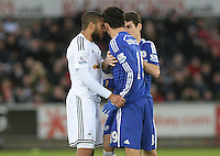 Swansea City's Ashley Williams and Chelsea's Diego Costa have a heated exchange <br /> <br /> Photographer /Ashley CrowdenCameraSport<br /> <br /> Football - Barclays Premiership - Swansea City v Chelsea - Saturday 17th January 2015 - Liberty Stadium - Swansea<br /> <br /> © CameraSport - 43 Linden Ave. Countesthorpe. Leicester. England. LE8 5PG - Tel: +44 (0) 116 277 4147 - admin@camerasport.com - www.camerasport.com