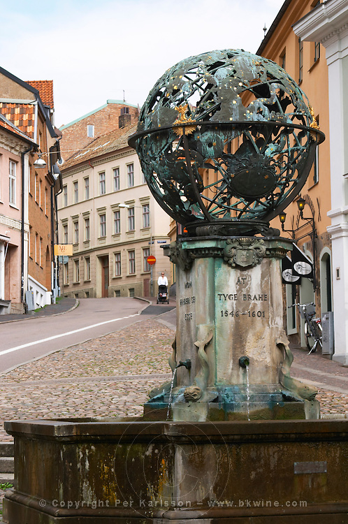 Memorial sculpture over Tycho (Tyge Ottesen) Brahe on the square named after him, with astronomical, astrological and alchemy signs. Helsingborg, Skane, Scania. Sweden, Europe.