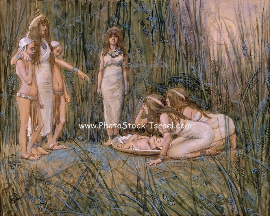 Pharaoh's Daughter Receives the Mother of Moses [Book of Exodus] Gouache paint on cardboard by James Tissot  1896-1902