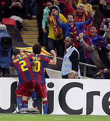 28.05.2011, Wembley Stadium, London, ENG, UEFA CHAMPIONSLEAGUE FINALE 2011, FC Barcelona (ESP) vs Manchester United (ENG), im Bild GOAL : Barcelona's Lionel Messi makes 2-1 and celebrates  during  the UEFA  Champions League Final between Barcelona and Manchester United at the Wembley Stadium  in London    on 28/05/2011, EXPA Pictures © 2011, PhotoCredit: EXPA/ IPS/ M. Pozzetti *** ATTENTION *** UK AND FRANCE OUT!