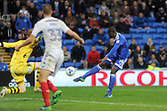 Cardiff City's Sol Bamba (r) goes close to scoring but fires over the crossbar from 7 yards in the last minute whilst being challenged by Wigan goalkeeper Adam Bogdan (yellow). EFL Skybet championship match, Cardiff city v Wigan Athletic at the Cardiff city stadium in Cardiff, South Wales on Saturday 29th October 2016.<br /> pic by Carl Robertson, Andrew Orchard sports photography.