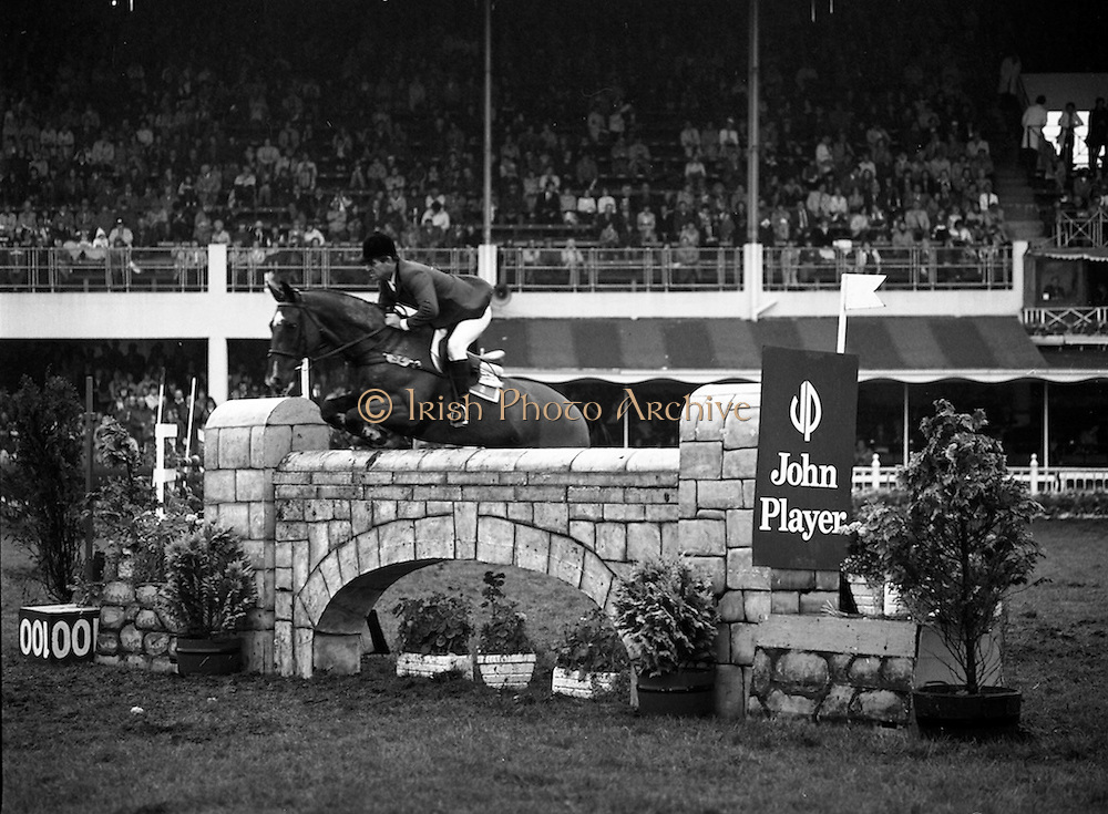 "07/08/1980<br /> 08/07/1980<br /> 07 August 1980<br /> R.D.S. Horse Show: John Player International, Ballsbridge, Dublin. Harvey Smith (Great Britain) on ""Sanyo Sammer""."