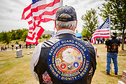 29 AUGUST 2020 - RUNNELLS, IOWA: Members of the Patriot Guard Riders in formation at the funeral for Pvt. Roy Brown Jr. in Runnells, IA. Pvt. Brown was a US Army soldier in World War II. He was an infantryman in the 126th Infantry Regiment, 32nd Infantry Division, serving in the Australian Territory of Papua (now Papua New Guinea). He went missing in action on Dec. 2, 1942. Unidentified remains were recovered on Feb. 2, 1943 and were eventually interred in the Manila American Cemetery. On May 14, 2019, Defense POW/MIA Accounting Agency using dental records, circumstantial evidence and DNA identified the remains as Pvt. Brown's. He was reinterred in the Lowman Cemetery in Runnells Saturday.      PHOTO BY JACK KURTZ
