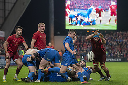 December 30, 2018 - Limerick, Ireland - Luke McGrath of Leinster kicks the ball during the Guinness PRO14 match between Munster Rugby and Leinster Rugby at Thomond Park in Limerick, Ireland on December 29, 2018  (Credit Image: © Andrew Surma/NurPhoto via ZUMA Press)
