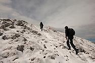 Hiking on Rumija, a mountain above Lake Skadar and Stari Bar, after October snowfall, Montenegro. © Rudolf Abraham
