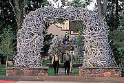 Elk Antler Arch in the Town Square, Jackson, Wyoming..Subject photograph(s) are copyright Edward McCain. All rights are reserved except those specifically granted by Edward McCain in writing prior to publication...McCain Photography.211 S 4th Avenue.Tucson, AZ 85701-2103.(520) 623-1998.mobile: (520) 990-0999.fax: (520) 623-1190.http://www.mccainphoto.com.edward@mccainphoto.com