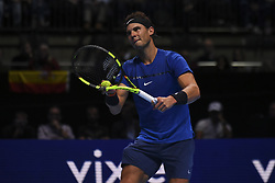 November 13, 2017 - London, England, United Kingdom - Spain's Rafael Nadal serves against Belgium's David Goffin during their singles match on day two of the ATP World Tour Finals tennis tournament at the O2 Arena in London on November 13, 2017. (Credit Image: © Alberto Pezzali/NurPhoto via ZUMA Press)