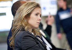 Maura McCarthy, Co-founder and VP of Sales & Marketing at Blu Homes was on hand as Blu Homes opened their West Coast factory on Mare Island in Vallejo, California Dec. 1, 2011.  Over 400 guests attended a ribbon cutting ceremony at the 250,000-square-foot facility.