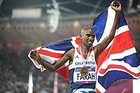 Athletics - London 2012 Olympics - Mens 10,000m<br /> Mo Farah of Great Britain celebrates winning the Gold medal
