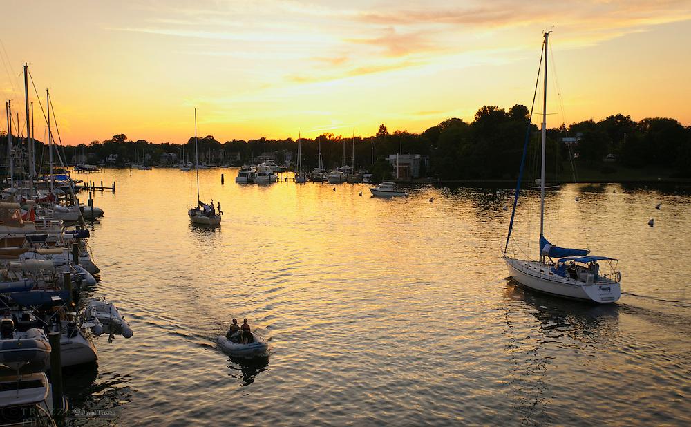 Chesapeake Bay sunset boating on Spa Creek, Annapolis, Maryland USA