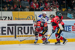 29.01.2017, Ice Rink, Znojmo, CZE, EBEL, HC Orli Znojmo vs EC VSV, Qualifikationsrunde, im Bild v.l. Markus Schlacher (EC VSV) Patryk Wronka (HC Orli Znojmo) Martin Podesva (HC Orli Znojmo) // during the Erste Bank Icehockey League qualification round match between HC Orli Znojmo and EC VSV at the Ice Rink in Znojmo, Czech Republic on 2017/01/29. EXPA Pictures © 2017, PhotoCredit: EXPA/ Rostislav Pfeffer