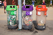 London, UK. Thursday 9th August 2012. London 2012 Olympic Games Park in Stratford. Recycling bins.
