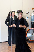 Singer Olivia Rojas (left) and Flamenco dancer Angelina Ramirez (right) warming up in their dance studio in Downtown Phoenix on August 12, 2016. Rojas and Ramirez are co-owners of Flamenco Por La Vida dance studio. Singer Olivia Rojas and Flamenco dancer Angelina Ramirez co-owners of Flamenco Por La Vida dance studio in Downtown Phoenix, AZ.