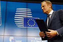 Belgium, Brussels - March 21, 2019.EUROPEAN COUNCIL .The European Council President Donald Tusk (Credit Image: © Pignatelli/Euc/Ropi via ZUMA Press)
