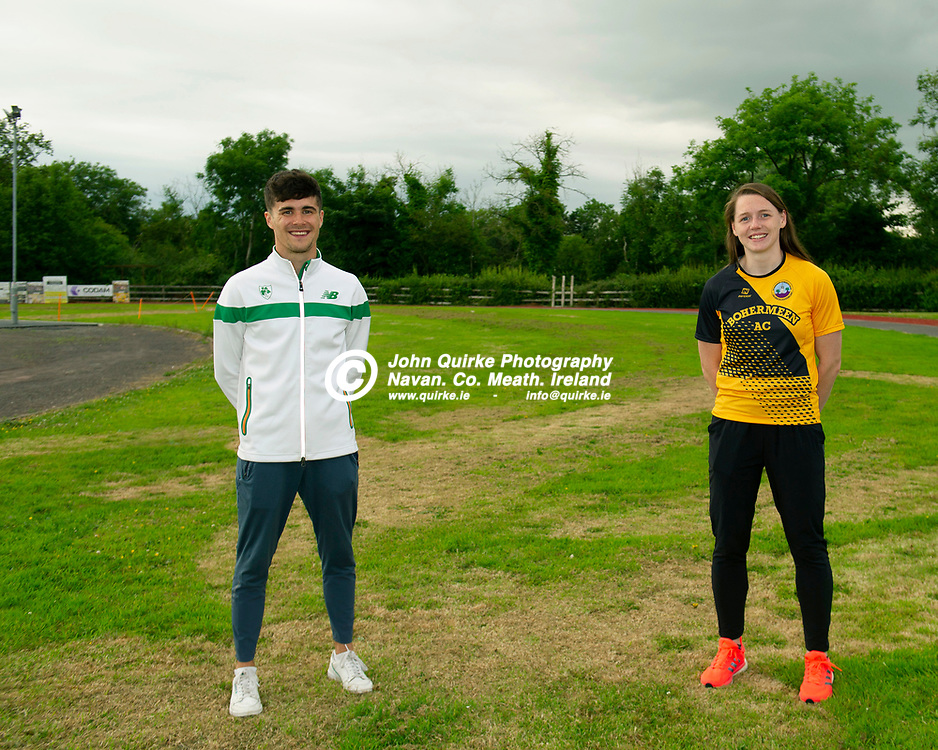 02-07-21. Bohermeen Athletic Club Presentation to Kevin McGrath and Karen Dunne.<br /> Kevin McGrath, European U-23 Championships 800Mts Qualifier and Karen Dunne,  Nation Track and Field 800 Hurdles bronze medalist.<br /> Photo: John Quirke / www.quirke.ie<br /> ©John Quirke Photography, 16 Proudstown Road, Navan. Co. Meath. (info@quirke.ie / 046-9028461 / 087-2579454).