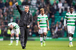 Celtic manager Brendan Rodgers acknowledges the crowd after the Ladbrokes Scottish Premiership match at Celtic Park, Glasgow.