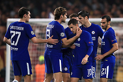 Chelsea's Eden Hazard (centre right) celebrates scoring his side's second goal of the game with teammates