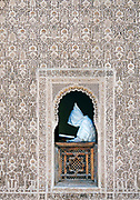 Ornate marble carvings characterize the central courtyard of the Medersa Ben Youssef (The Son of Joseph) , Old Medinah, Marrakesh