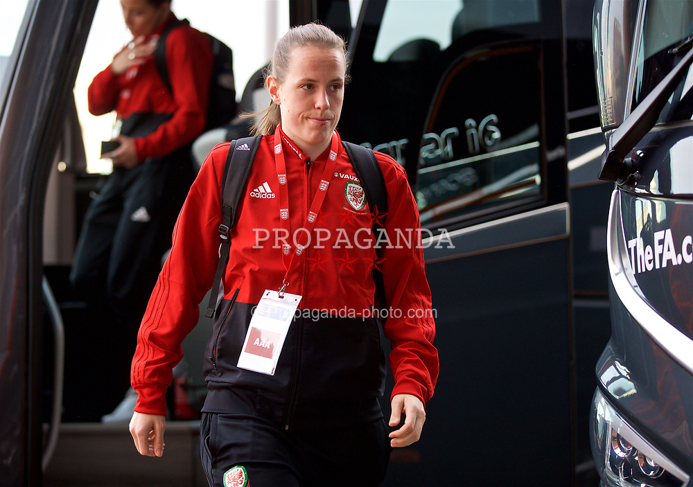 SOUTHAMPTON, ENGLAND - Friday, April 6, 2018: Wales' goalkeeper Laura O'Sullivan arrives before the FIFA Women's World Cup 2019 Qualifying Round Group 1 match between England and Wales at St. Mary's Stadium. (Pic by David Rawcliffe/Propaganda)