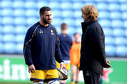 Matt Cox of Worcester Warriors talks to Forwards Coach Simon Cross - Mandatory by-line: Robbie Stephenson/JMP - 13/11/2016 - RUGBY - Ricoh Arena - Coventry, England - Wasps v Worcester Warriors  - Anglo Welsh Cup