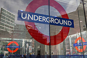 The London Underground roundels outside the newest entrance to Victoria underground station, on 11th March 2019, in London, England.