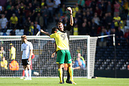 Norwich City Forward Nelson Oliveira is booked after celebrating by taking his shirt off after scoring his team's first goal. EFL Skybet football league championship match, Fulham  v Norwich city at Craven Cottage in London on Saturday 5th August 2017.<br /> pic by Steffan Bowen, Andrew Orchard sports photography.