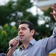 Alexis Tsipras giving  his speech in the open Assembly of SYRIZA in Aghia Ekaterini Square, in the Kato Petralona neighbourhood  of Athens.