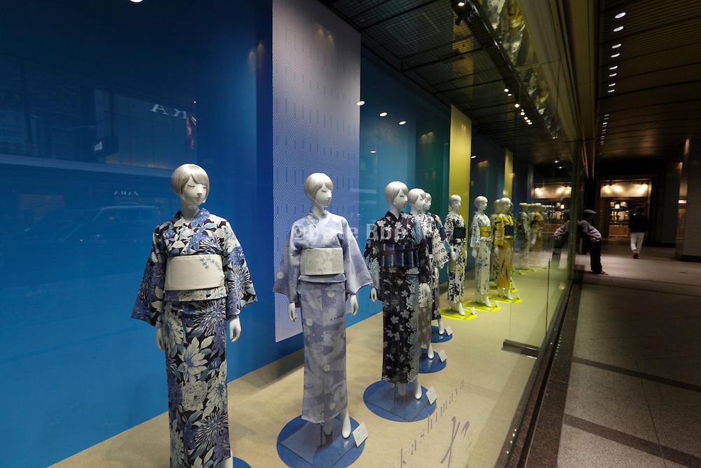 window display with mannequins wearing modern yukata style kimono