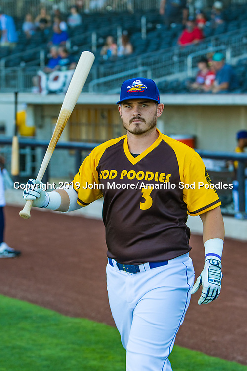 Amarillo Sod Poodles infielder Kyle Overstreet (3) against the Frisco RoughRiders on Saturday, Aug. 17, 2019, at HODGETOWN in Amarillo, Texas. [Photo by John Moore/Amarillo Sod Poodles]