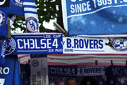 23 August 2016 - EFL Cup - Chelsea v Bristol Rovers<br /> A half and half match day scarf displays Chelsea spelt with numbers in the place of letters - Ch3l534<br /> Photo: Charlotte Wilson