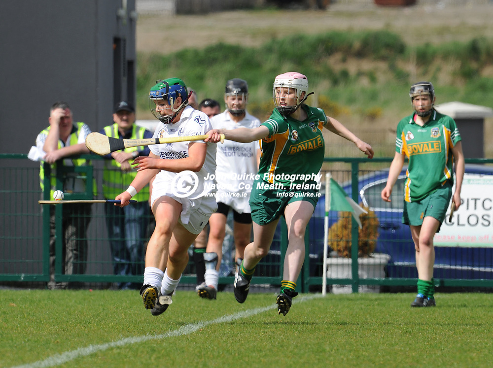 24-04-11. Meath v Kildare - Irish Daily Star National Camogie League Div. 3 Final at Ashbourne.<br /> Siobhan Hurley setting off on a solo run closely followed by Kristina Troy, Meath.<br /> Photo: John Quirke / www.quirke.ie<br /> ©John Quirke Photography, Unit 17, Blackcastle Shopping Cte. Navan. Co. Meath. 046-9079044 / 087-2579454.
