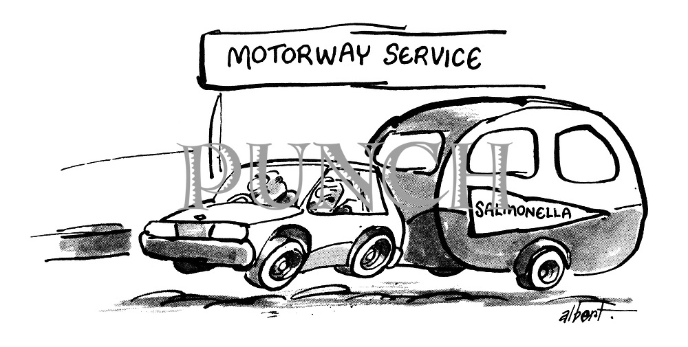 (A car speeding along the motorway tows a caravan with the sign 'Salmonella' on the side)
