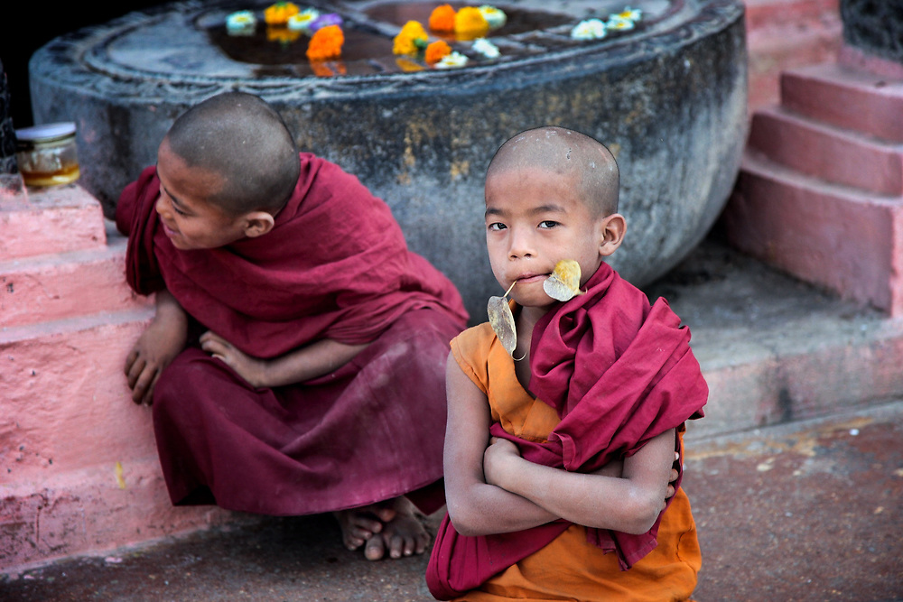 """Samanera in Bodhgaya, India. In Pali lenguage, the word samanera, means 'small monk' or 'boy monk. Even if very young, they have to adopt part of the monastic code and study the canonical texts """"Vinaya"""" in preparation for full ordination."""