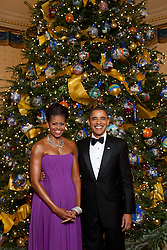 Dec. 6, 2009 - Washington, Canada - U.S President Barack Obama and First Lady Michelle Obama pose for a formal portrait in front of the official White House Christmas Tree in the Blue Room of the White House December 6, 2009 in Washington, DC. (Credit Image: © Lawrence Jackson/Planet Pix via ZUMA Wire)