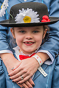 Lily Stout aged 7 and her mother both come as Mary Poppins - The London Borough of Havering enters a Mary Poppins themed group - The New Years day parade passes through central London form Piccadilly to Whitehall. London 01 Jan 2017